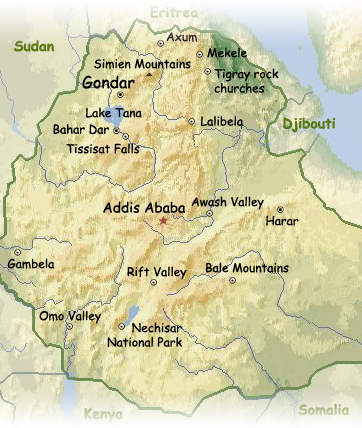 Ethiopia, Simien Mountains highlighted