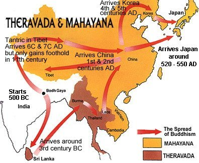 Mahayana and Hinayana (theraveda) Buddhism Map